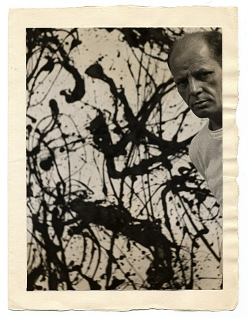 thumbnail image for Jackson Pollock with his painting <em>Untitled Number 32</em>