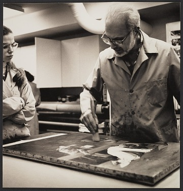 thumbnail image for Louis Pomerantz demonstrating painting conservation