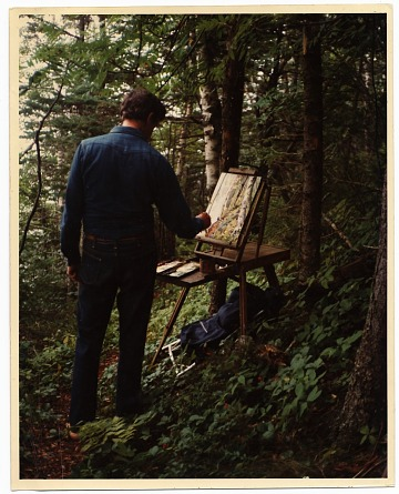thumbnail image for Fairfield Porter painting in the woods in Maine