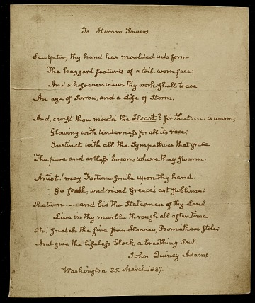 thumbnail image for Copy of a John Quincy Adams poem to Hiram Powers