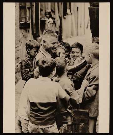 thumbnail image for Josef Presser with school children in Chartres, France