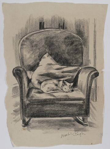 thumbnail image for Sketch of a cat on a rocking chair
