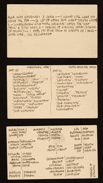 thumbnail image for Ad Reinhardt, New York, N.Y. postcards to Katherine Scrivener, Washington, D.C.