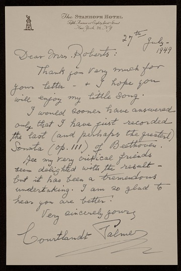 thumbnail image for Courtlandt Palmer, New York, N.Y. letter to Mary Fanton Roberts