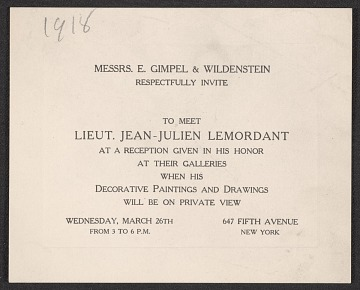 thumbnail image for Messrs. E. Gimpel & Wildenstein, New York, N.Y. invitation to Mary Fanton Roberts, New York, N.Y.