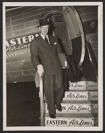 thumbnail image for Terence Robsjohn-Gibbings disembarking from Eastern Air Lines airplane