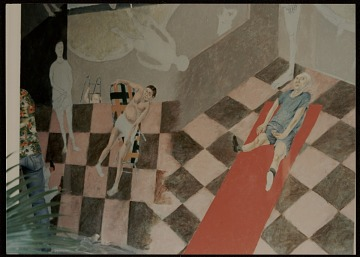 thumbnail image for Detail of Arturo Rodríguez's mural <em>The Great Theater of the World</em>