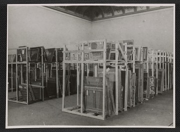 thumbnail image for Interior of Museum Wiesbaden with paintings on storage racks