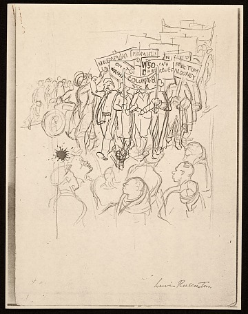 thumbnail image for Lewis W. Rubenstein sketchbook of hunger walk to Washington