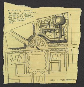 thumbnail image for Eero Saarinen sketch for UNESCO headquarters building in Paris