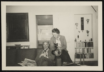 thumbnail image for Photograph of Kay Sage and Yves Tanguy with cats