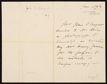 thumbnail image for John Singer Sargent to Mr. Alden
