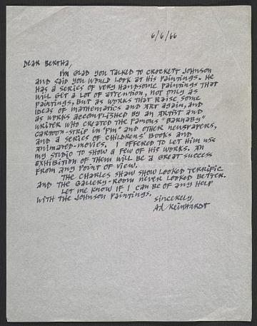 thumbnail image for Ad Reinhardt letter to Bertha Schaefer