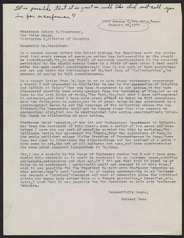 thumbnail image for Forrest Bess letter to President Dwight D. Eisenhower