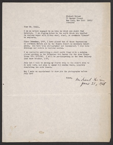 thumbnail image for Michael Heizer, New York, N.Y. letter to Robert C. Scull