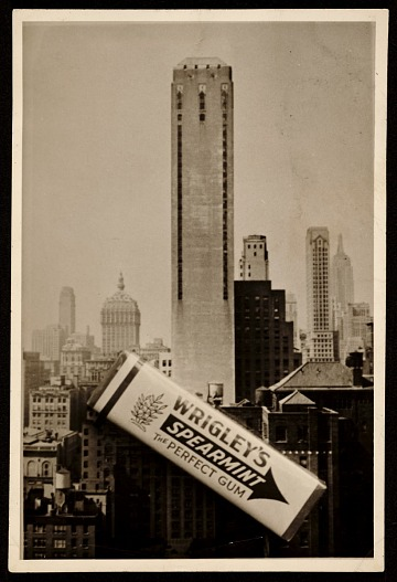 thumbnail image for Photograph of the construction of Wrigley building with a pack of Wrigly's gum