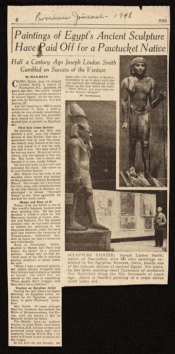 thumbnail image for Newspaper article about Joseph Lindon Smith painting ancient Egyptian sculpture