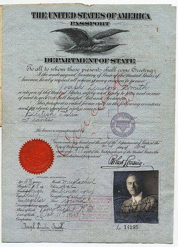 thumbnail image for Joseph Lindon Smith's passport