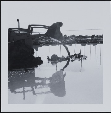 thumbnail image for Photograph of bulldozer laying <em>Spiral Jetty</em>