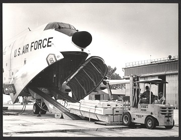 thumbnail image for U.S. Air Force unloading of art from a plane for the 32nd Venice Biennale