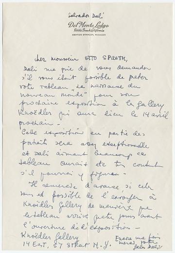 thumbnail image for Gala Dali, Pebblebeach, Calif. letter to Otto Spaeth, Dayton, Ohio
