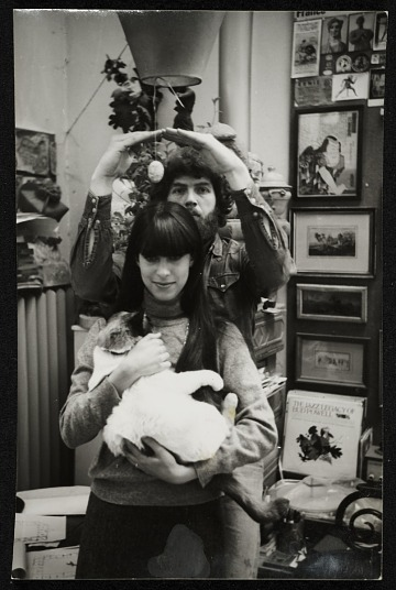 thumbnail image for Photograph of Paul Suttman with wife Elisse and their cat