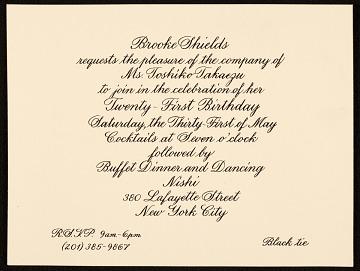 thumbnail image for Brooke Shields invitation to Toshiko Takaezu
