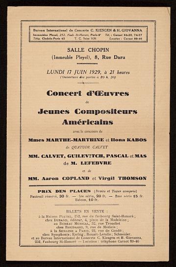 thumbnail image for Concert d'Oeuvres de Jeunes Compositeurs Americains