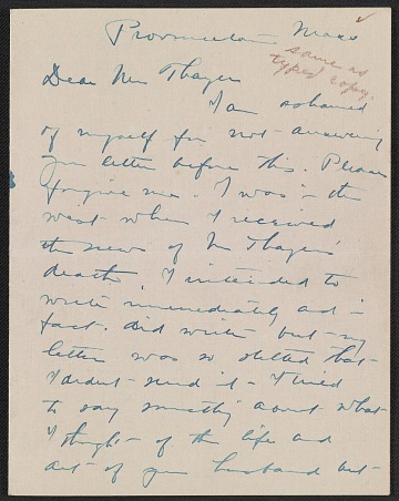 thumbnail image for Charles Webster Hawthorne letter to Emma Beach Thayer