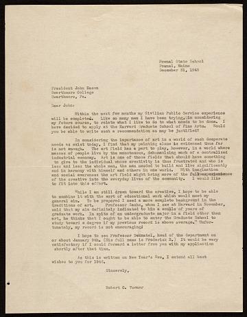 thumbnail image for Robert Chapman Turner, Pownal, Me. letter to John Nason, Swarthmore, Pa.