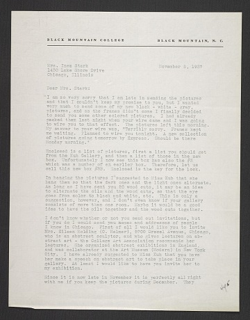 thumbnail image for Josef Albers, Black Mountain, N.C. letter to Inez Cunningham Stark