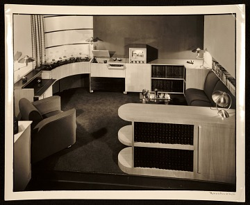 thumbnail image for Musicorner room designed by John Vassos displayed at the American at Home Pavilion, 1940 New York World's Fair