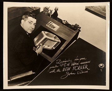 thumbnail image for John Vassos with his rendering of a radio from the