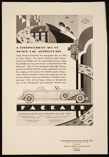 thumbnail image for Advertisement designed by John Vassos for Packard motor cars