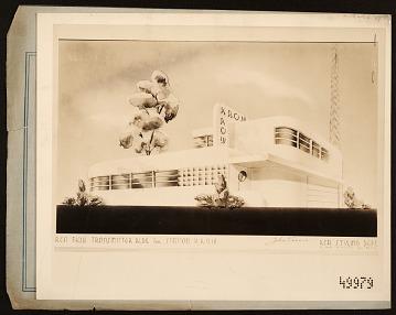 thumbnail image for Rendering of transmitter building for RCA station KROW, designed by John Vassos