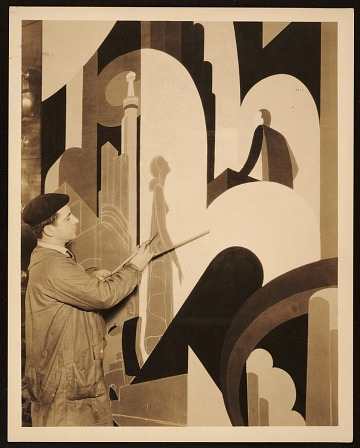 thumbnail image for John Vassos painting a mural at WCAU radio station in Philadelphia