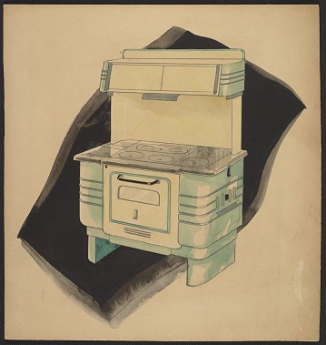 thumbnail image for John Vassos concept drawing for a kitchen stove and range