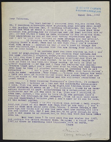 thumbnail image for Letter from Henry Kahnweiler to Curt Valentin