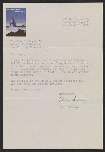 thumbnail image for Italo Scanga letter to Samuel J. Wagstaff