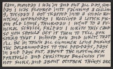 thumbnail image for Ad Reinhardt postcard to Samuel J. Wagstaff