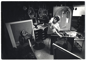 thumbnail image for Carol Wald with a cat in her studio