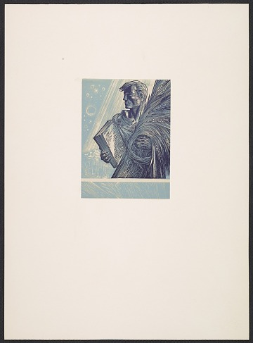 thumbnail image for Lynd Ward bookplate with design of a man holding a book and sheaf of wheat