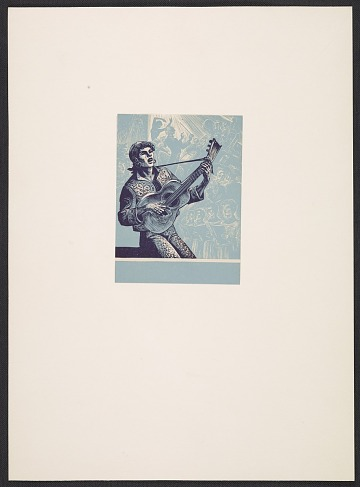 thumbnail image for Lynd Ward bookplate with design of a guitar player