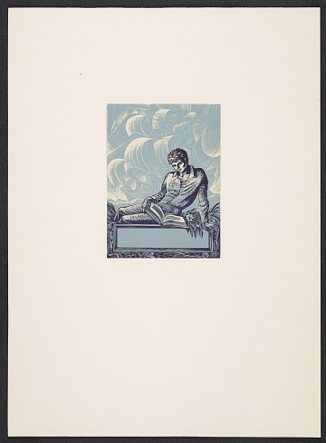 thumbnail image for Lynd Ward bookplate with design of a young man reading