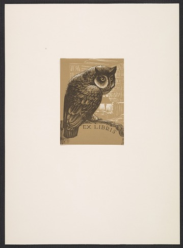 thumbnail image for Lynd Ward bookplate with owl design