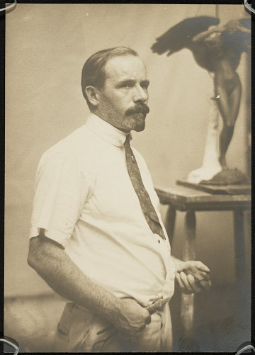 thumbnail image for Adolph Weinman in studio