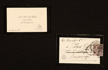 thumbnail image for James McNeill Whistler note to unidentified recipient, Cambridge, England