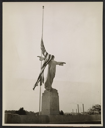 thumbnail image for Titanic Memorial, shielded by Old Glory