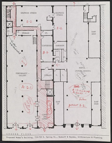 thumbnail image for Floorplan for the proposed Woman's Building, 719-725 S. Spring Street, ground floor