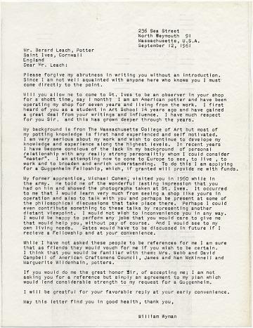 thumbnail image for William Wyman to Bernard Leach